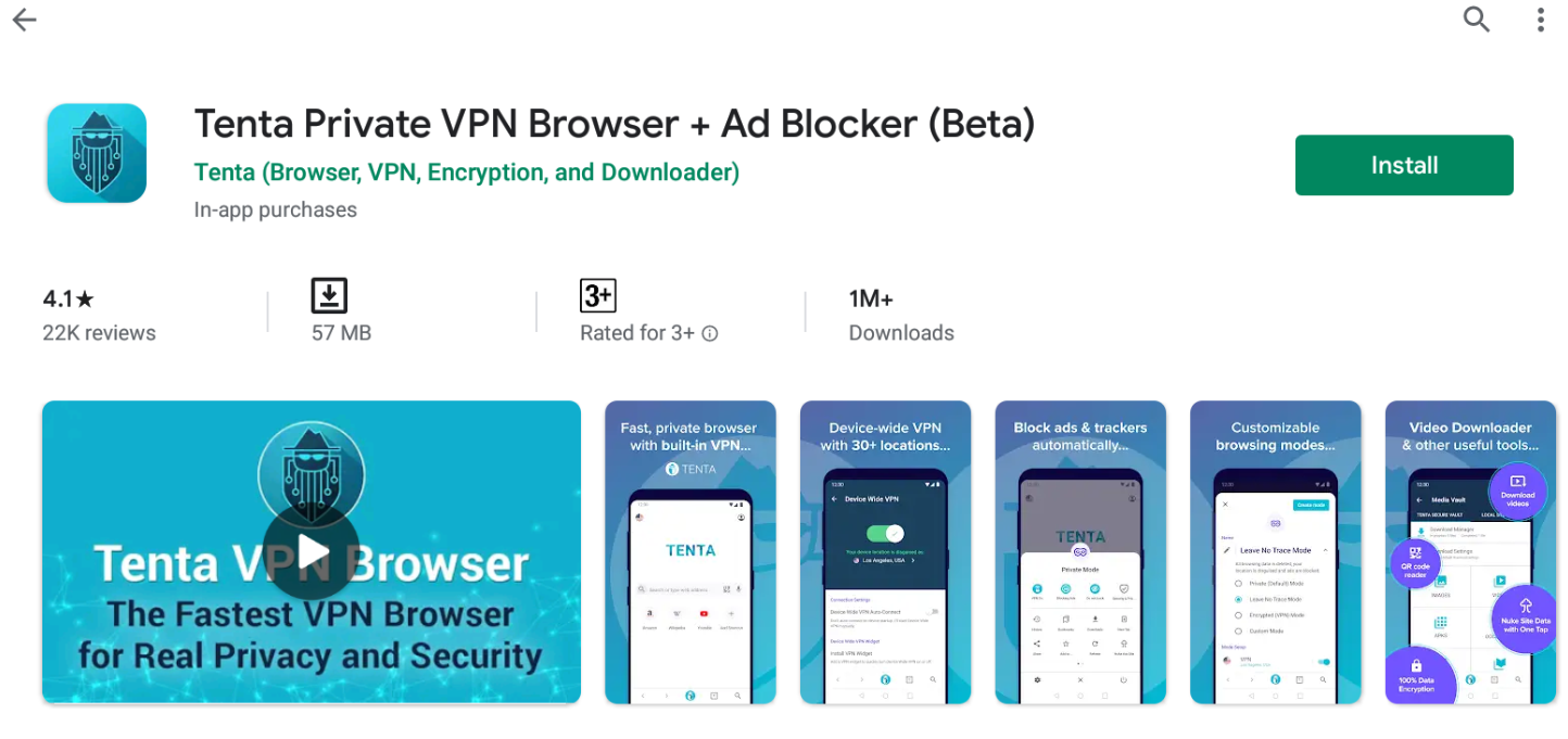 Tenta Private VPN Browser for Windows