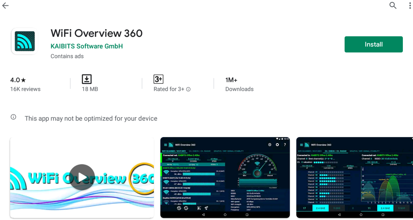 Wi-Fi overview 360 for Windows