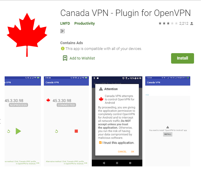 Canada VPN for windows