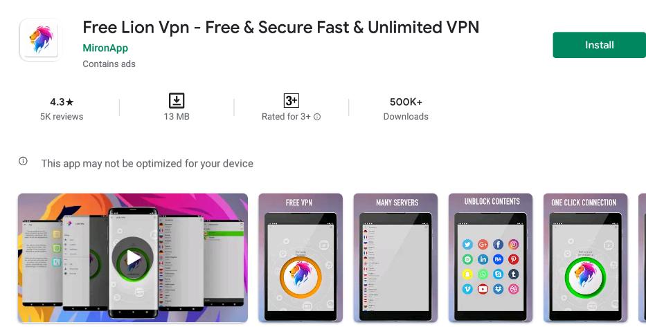 Free Lion VPN for Windows