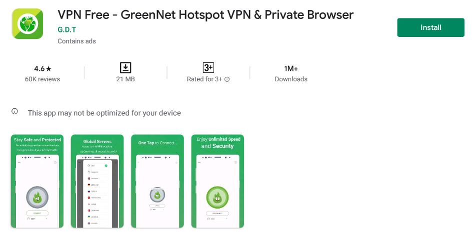 GreenNet VPN for Windows