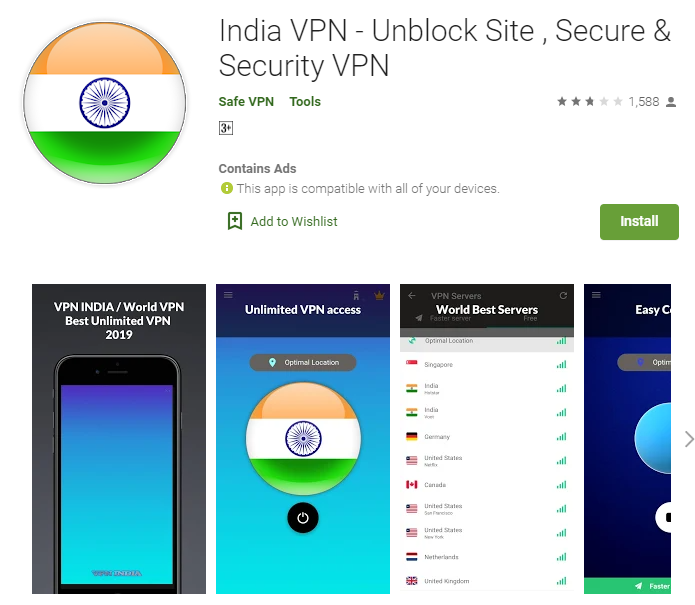 India VPN for windows