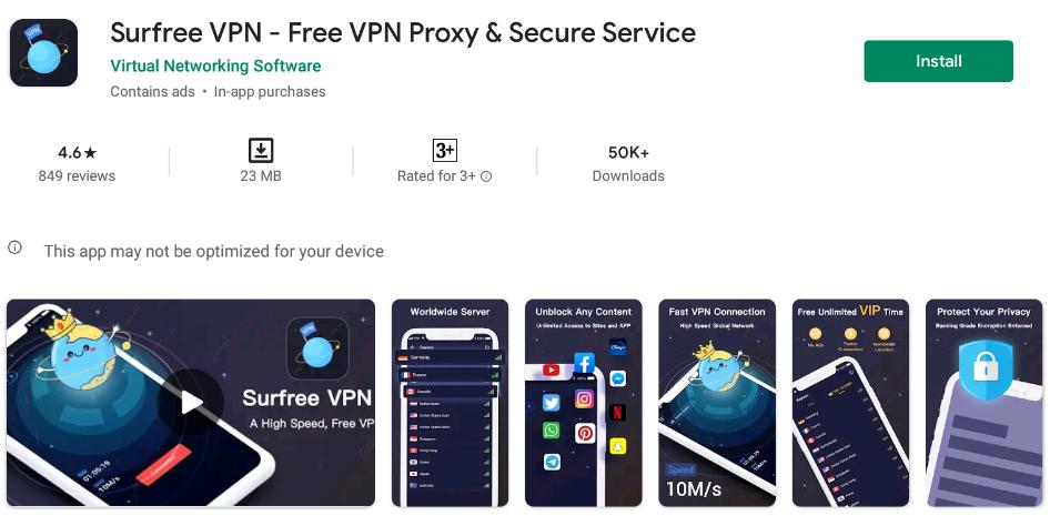 Surfree VPN for Windows