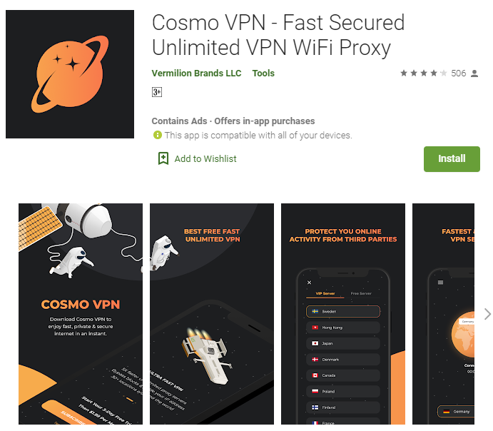 Cosmo VPN for windows