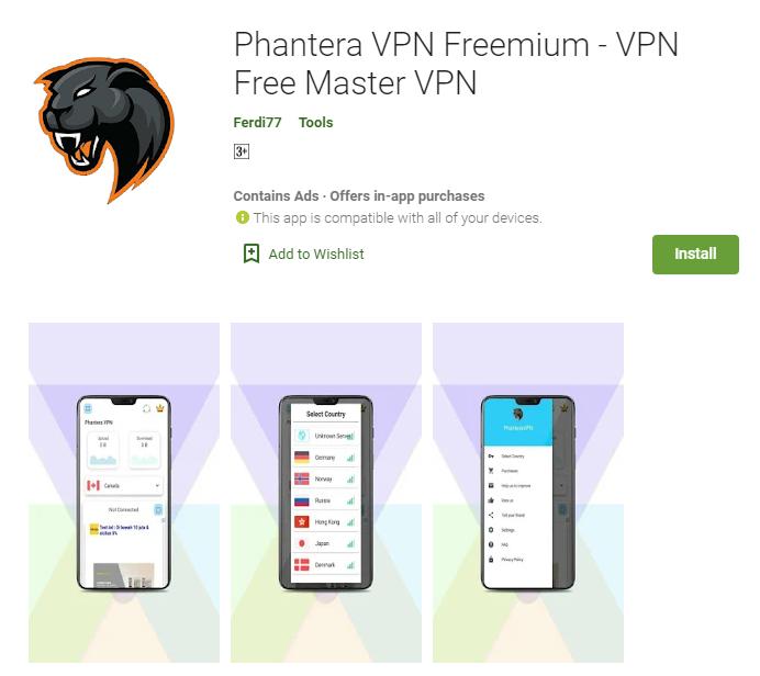 Phantera VPN for windows