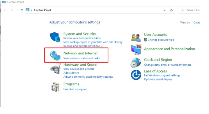 select Network and Internet