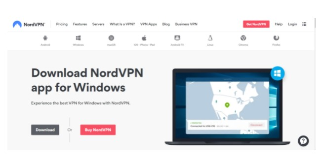 official website of NordVPN