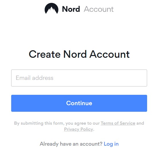 create a new account on NordVPN