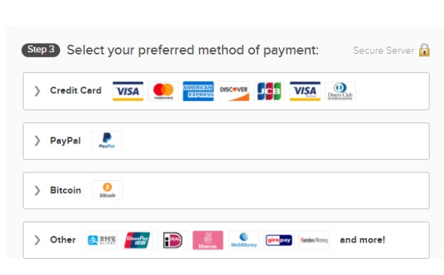 payment method to pay